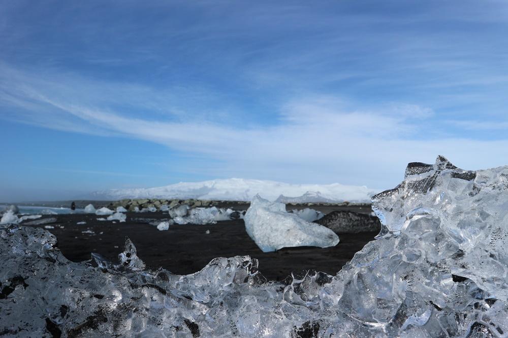 route voor Zuid-IJsland - diamond beach